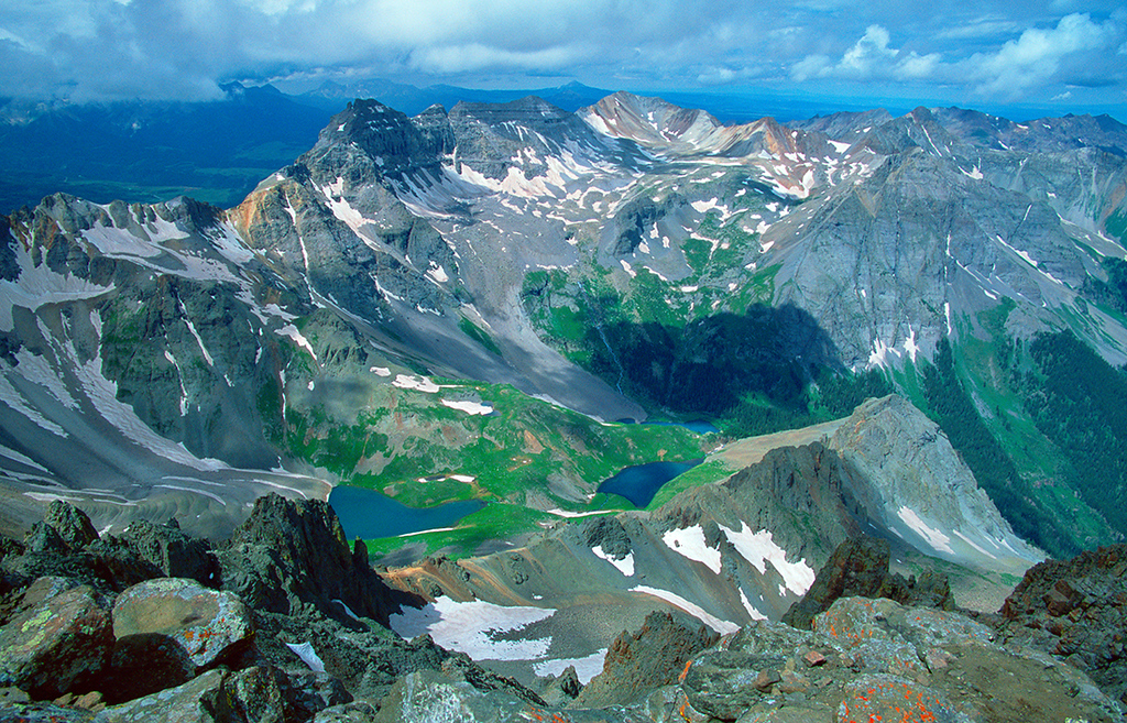 (A063)  Summit view from 14,150' Mount Sneffels.