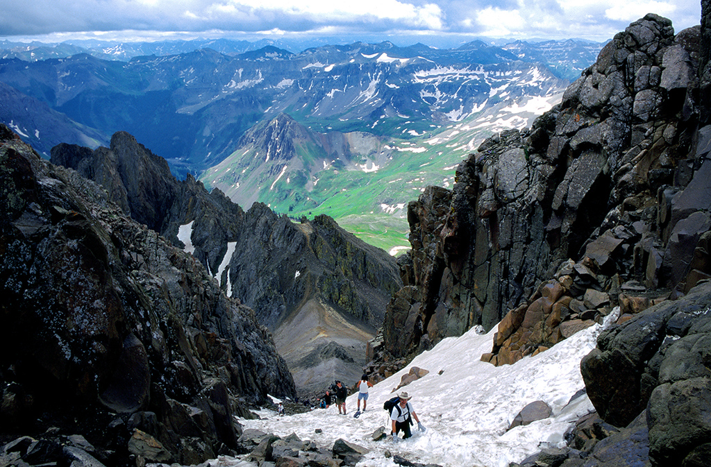 (J027) Robert climbs the southeast couloir to summit of Mt. Sneffels<br /> (Photo courtesy of John Gabert)
