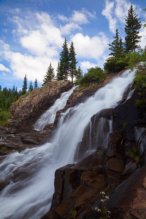 (YB-10100)  Twin Falls along Sneffels Creek in Yankee Boy Basin.