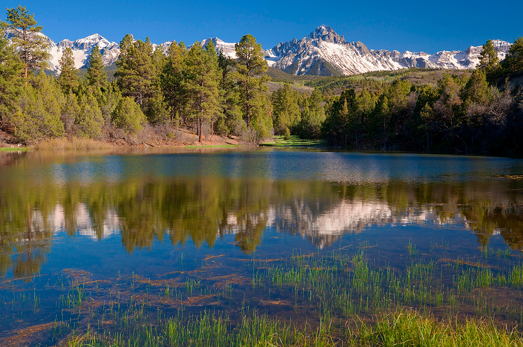(SN-10091)  Pond reflection of the Sneffels Range in springtime.