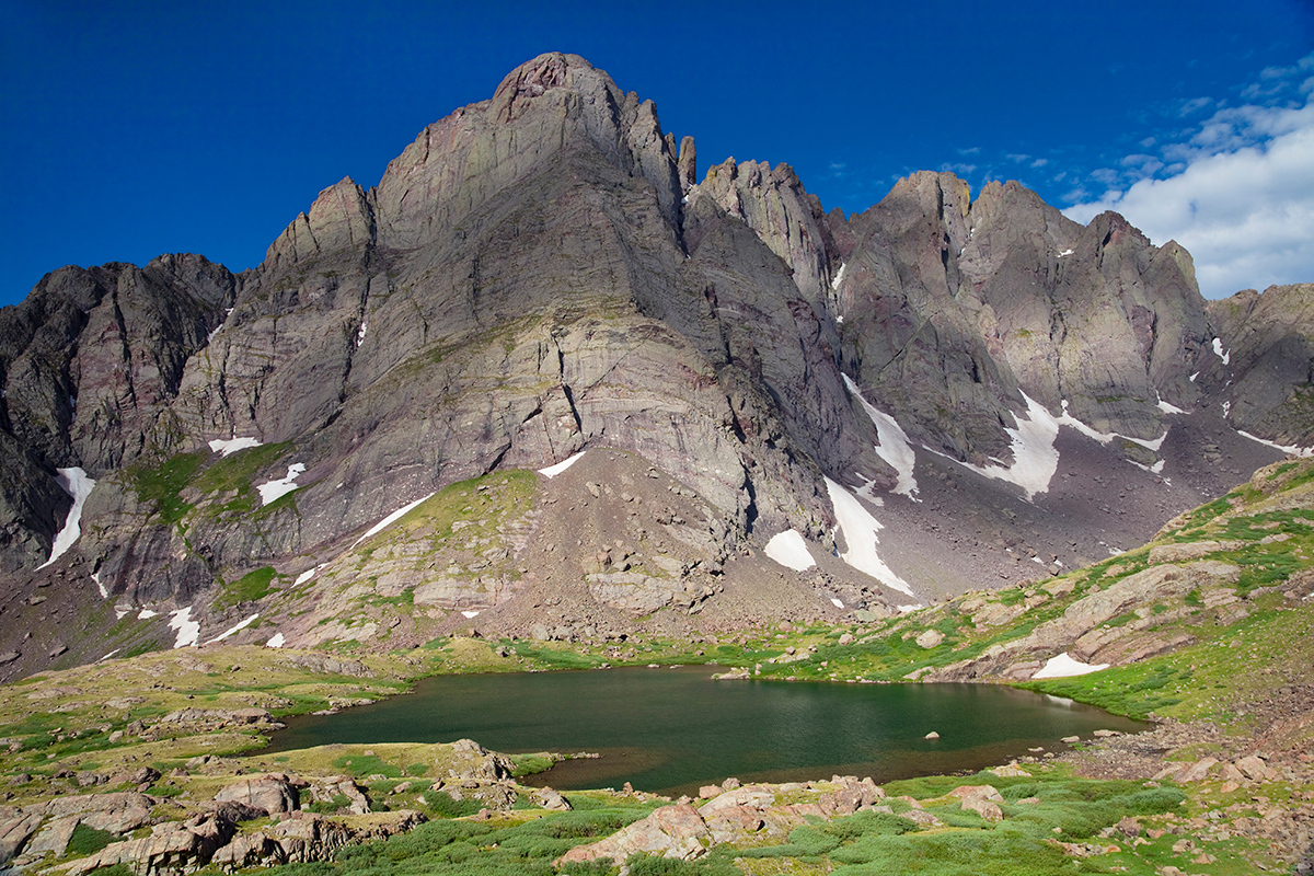 (SC-10054)  Crestone Needle and Peak above Upper South Colony Lake