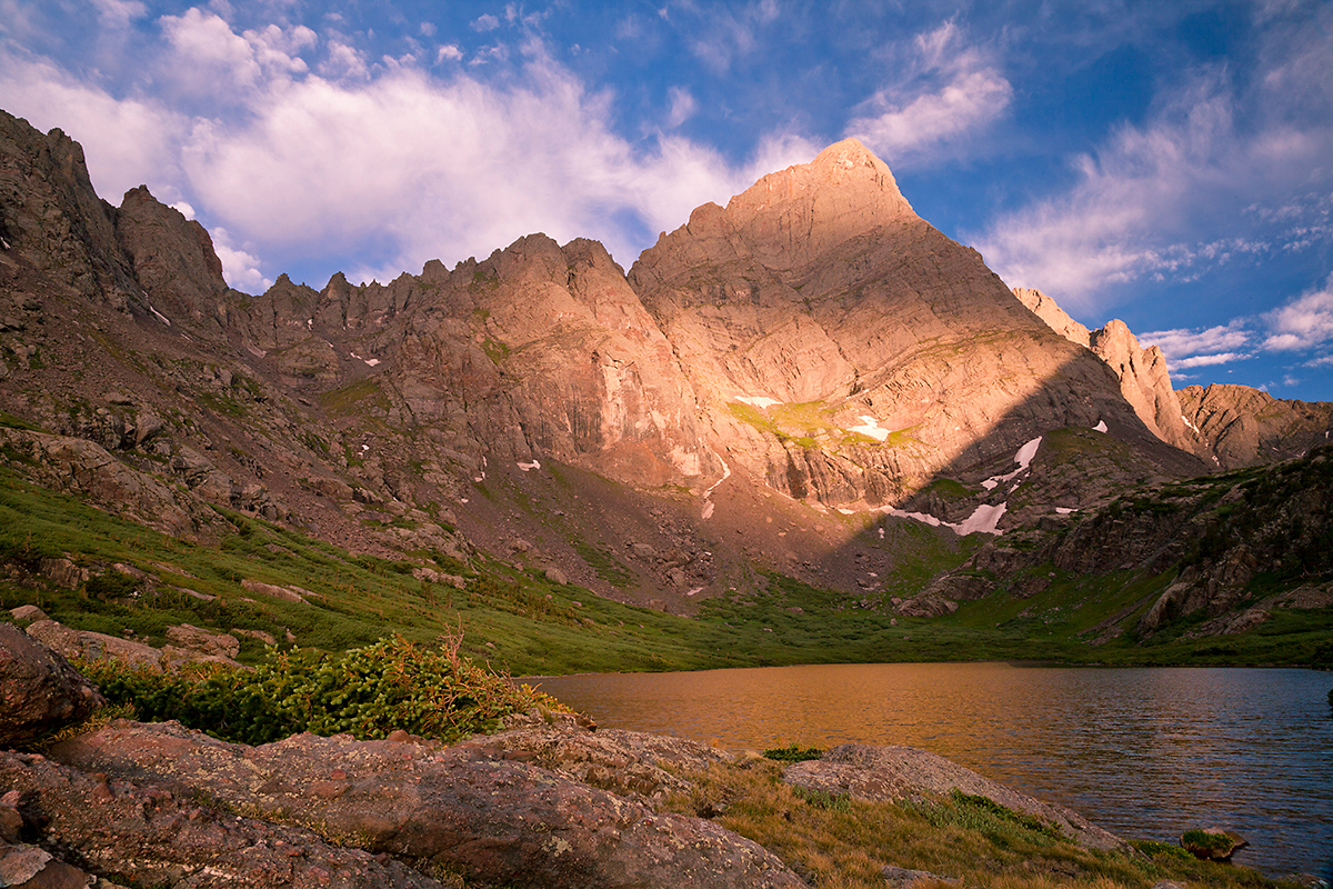(SC-10009)  Sunrise light on Crestone Needle and Lower South Colony Lake