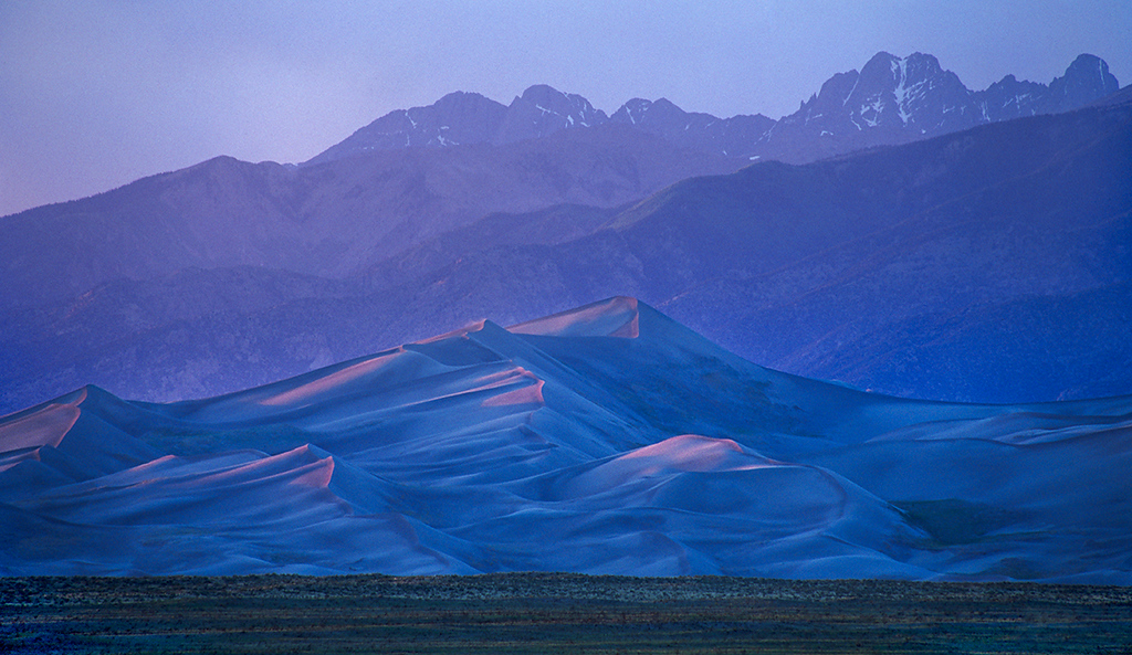 (B028)  Great Sand Dunes & Sangre de Cristo Range at sunset