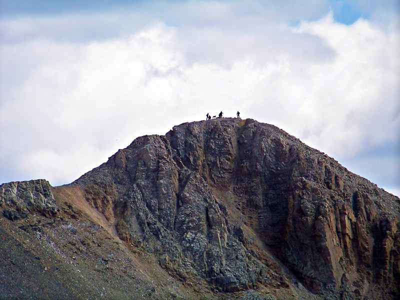 Hikers and a 14er pooch on the Mt. Lincoln summit, Colorado Mosquito Range