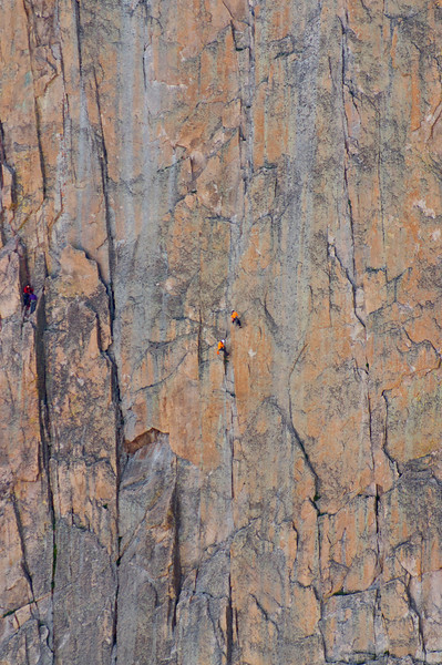 One group of climbers ponders their next move, while others rappel; Rocky Mountain National Park, Colorado.
