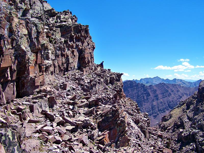 Crumbling ledges dominate the landscape on Maroon Peak's south ridge, Colorado Elk Range