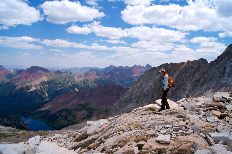 """Hiking down the """"rockmass,"""" Snowmass Mountain's east slopes; Colorado Elk Range"""