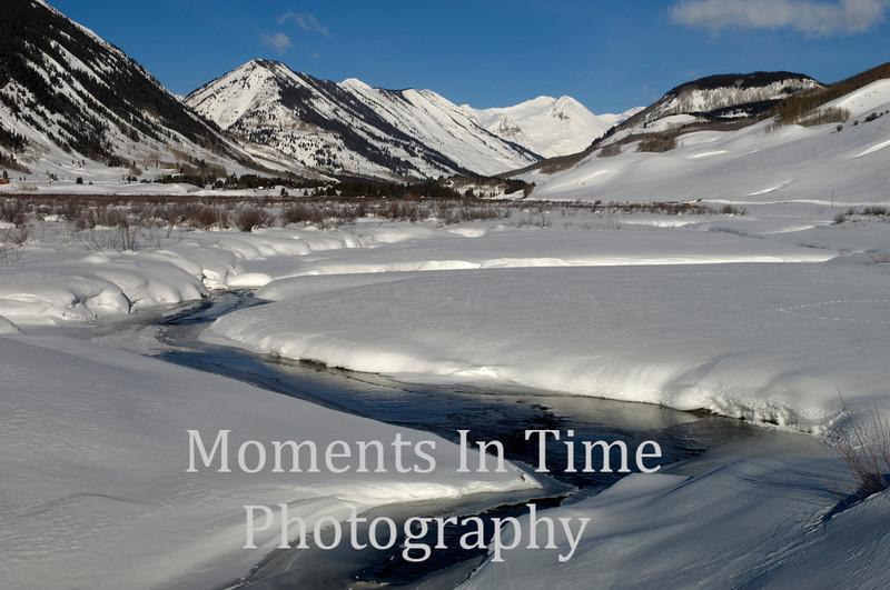 Winding river in winter