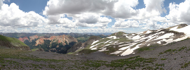 Looking at the Red Mountains from a lookout just below Imogene Pass