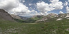 Panorama descending Imogene Pass heading down to Ouray.