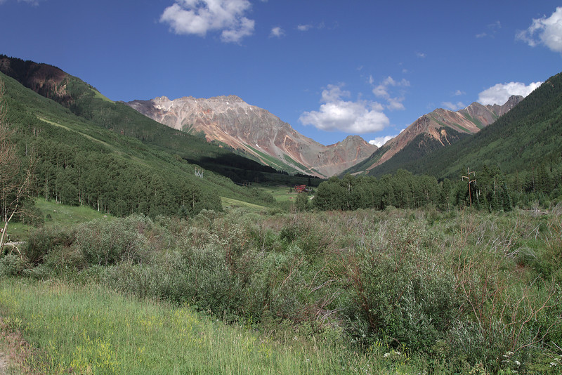 Looking up towards the town of Ophir and Ophir Pass.  You can see the shelf road heading up to Ophir Pass.