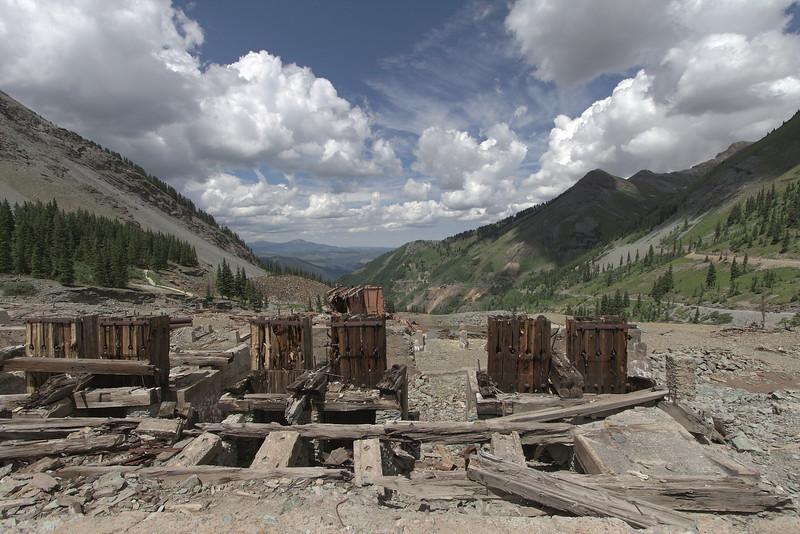 Ruins of the Tom Boy Mine heading up Imogene Pass.