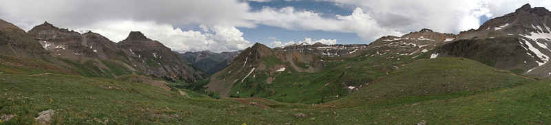 At the top of Yankee Boy Basin looking back down the valley.