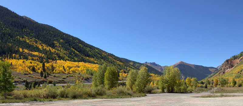 Pano taken from the gas station at Silverton looking at 550 leading back to Durango.