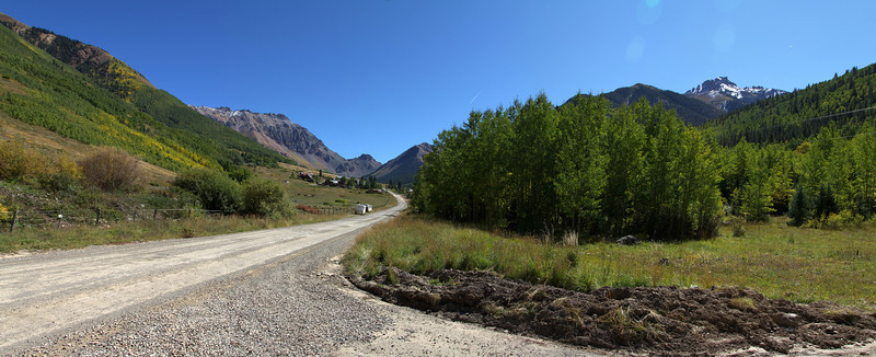 Looking up at the town of Ophir and Ophir Pass.