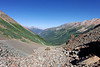 Looking at the one switchback just below Ophir Pass heading down the Telluride side.