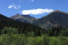 A view along the million dollar highway before you start to ascend Red Mountain Pass.