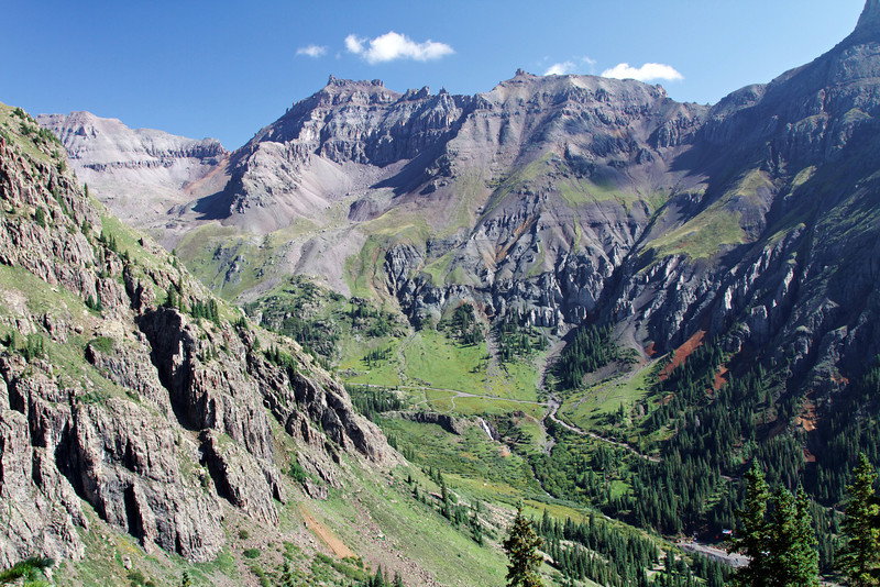 Looking down into Yankee Boy Basin as we climb into Governor Basin