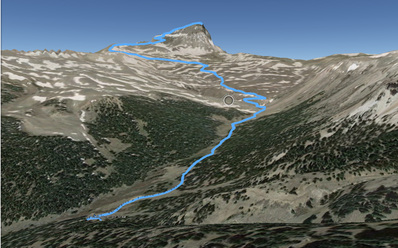 GPS track of the path we took to the peak laid onto Google Earth.