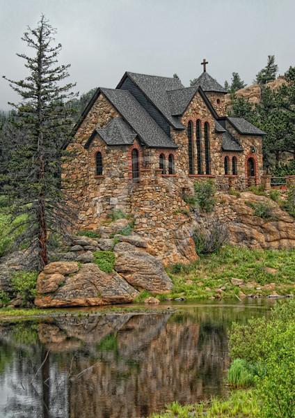 St. Malo church reflection near Estes Park Colorado