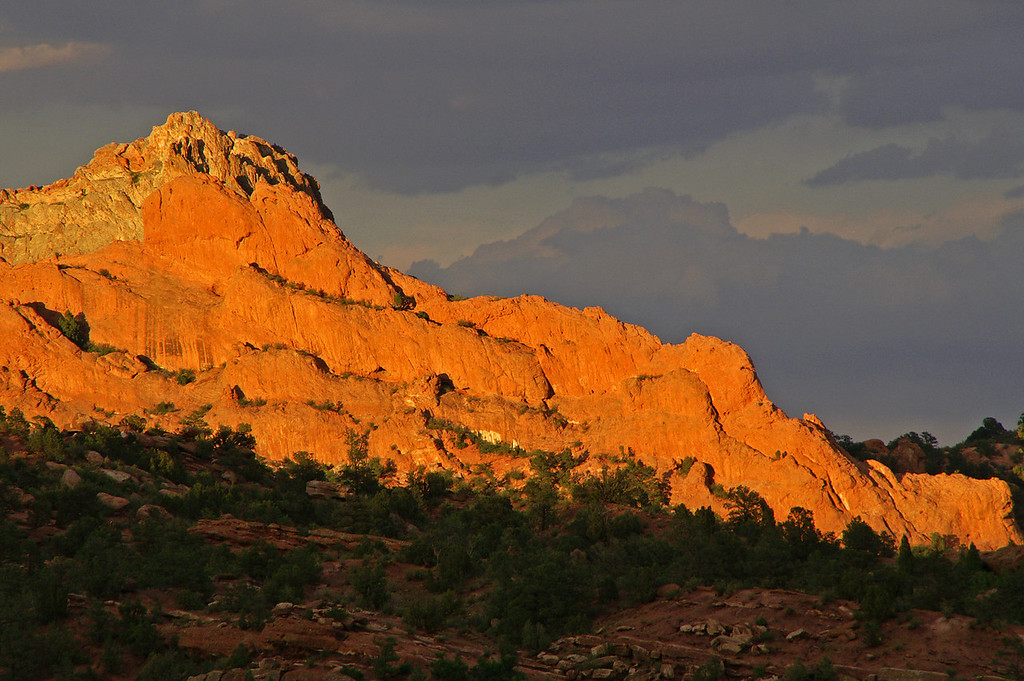 Garden of the Gods at sunset can be very dramatic especially with a summer thunder storm brewing.