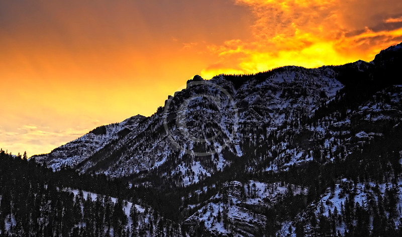 Beautiful winter sunset in Ouray Colorado