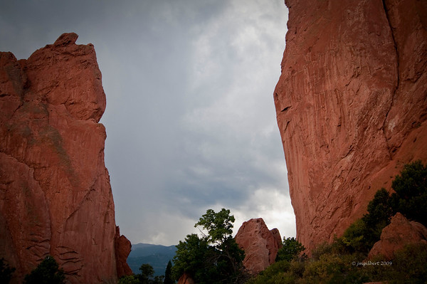 Garden of the Gods red rock formations.  I was here in September 2009, there were storms daily over Pikes Peak usually in the late afternoons.