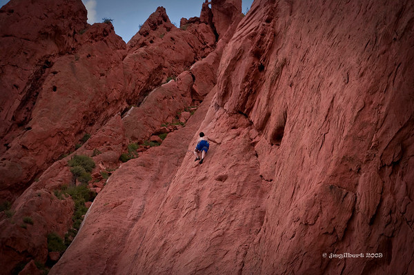 Garden of the Gods red rock.  Climbing by City permit only and as part of a class.