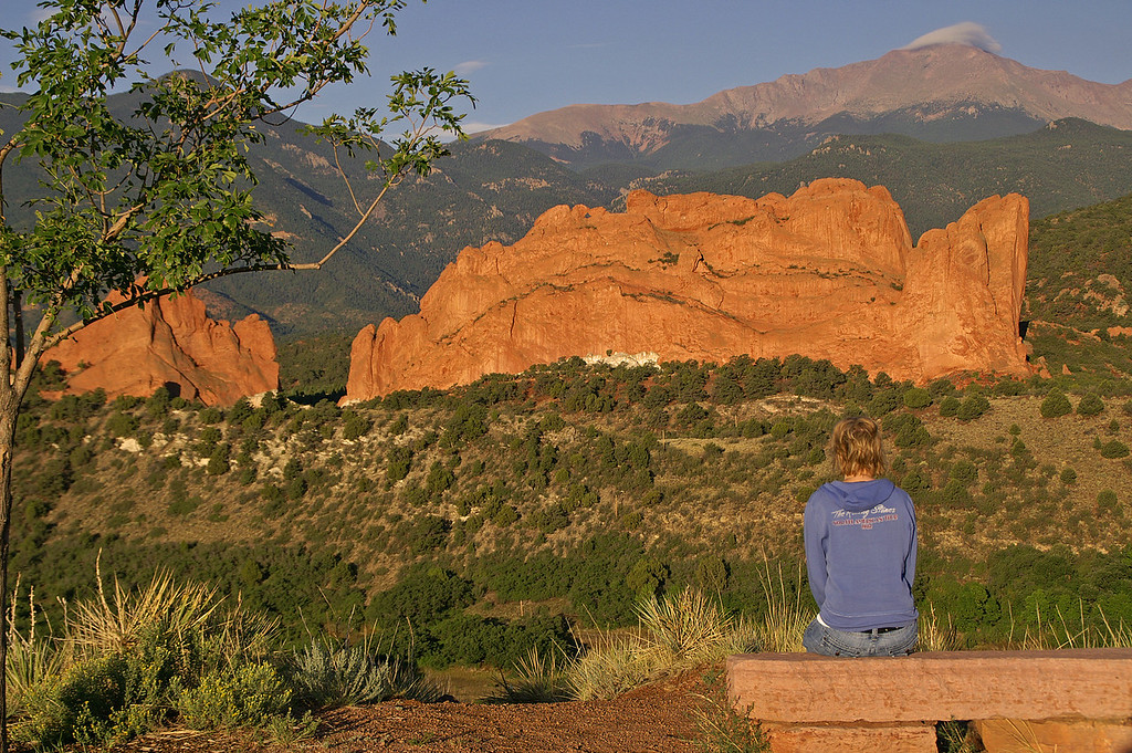 Kissing Camels in Garden of the Gods Park with Pikes Peak in the background at sunrise. A Colorado tri-fecta.
