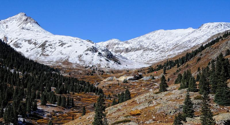 Distant mine in winter -- Colorado alpine tundra valley