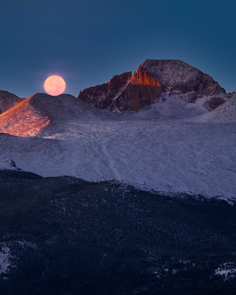 Resting Moon on Long's Peak