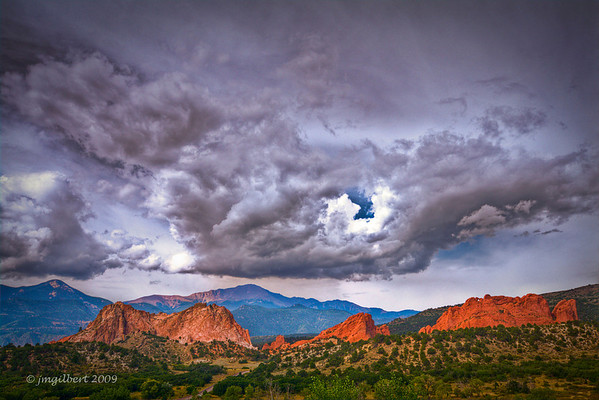"""Entrance to """"Garden of The GODS"""" with Pikes Peak in the background.  Bracketed 3 shots at 2 f/stop intervals and then processed in Photomatrix (HDR Process)"""
