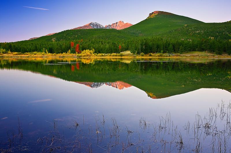 Colorado, Rocky Mountain National Park, Lily Lake, Sunrise, Landscape, 科罗拉多 落矶山国家公园 秋色, 风景