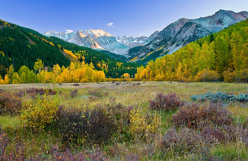 Colorado, Rocky, Mountains, Castle Peak, Fall, Foliage, Sunset, sel, Landscape, 科罗拉多 洛矶山 秋色, 风景