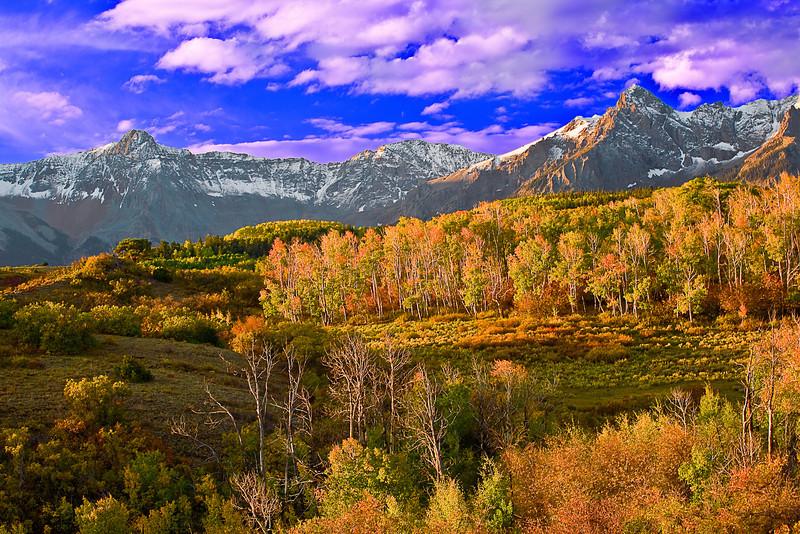 Colorado, Mountain Sneffels, Rocky, San Juan Mountain, Sunrise, Fall colors, Foliage, Landscape, 科罗拉多 洛矶山 秋色, 风景