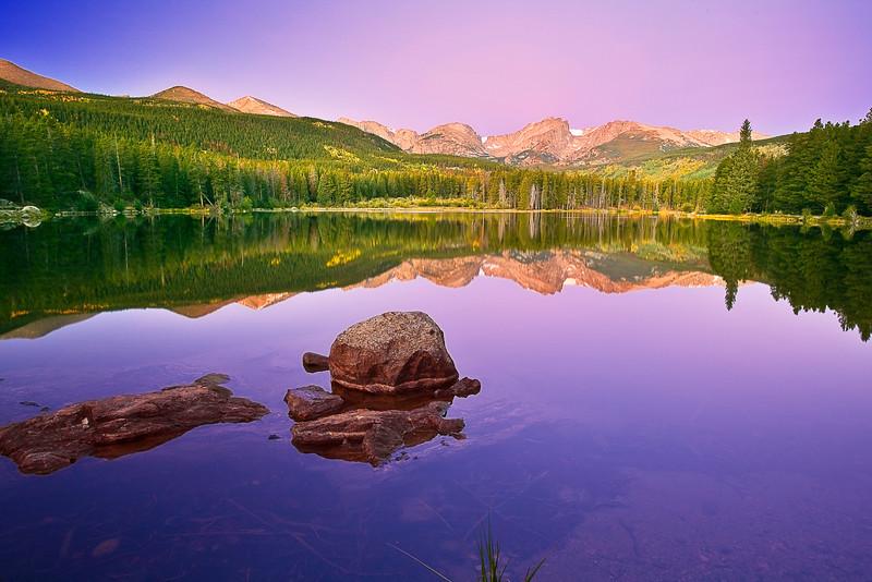 Colorado, Rocky Mountain National Park, Sprague Lake, Sunrise, Reflection, Landscape, 科罗拉多 落矶山国家公园 秋色, 风景