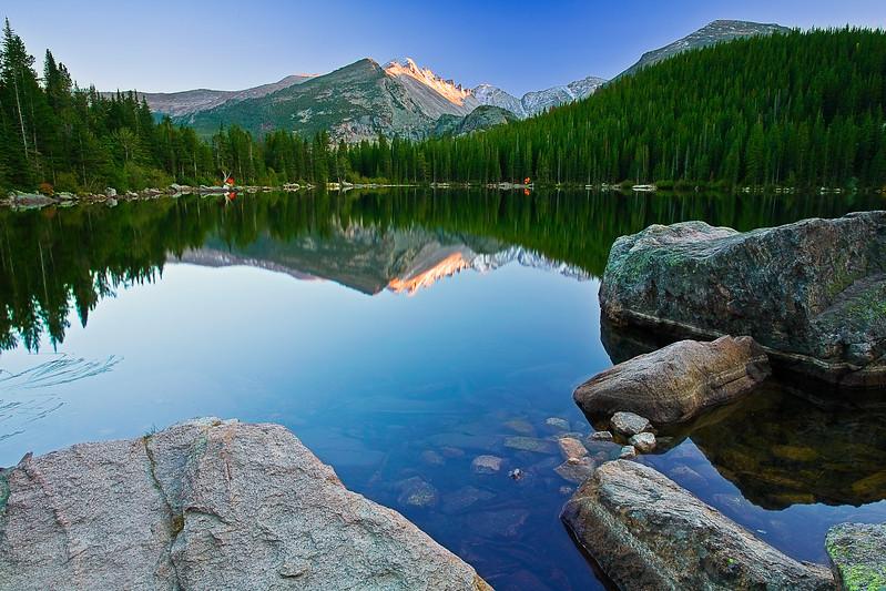 Colorado, Rocky Mountain National Park, Bear Lake, Reflection, Sunset,Landscape, 科罗拉多 落矶山国家公园 秋色, 风景
