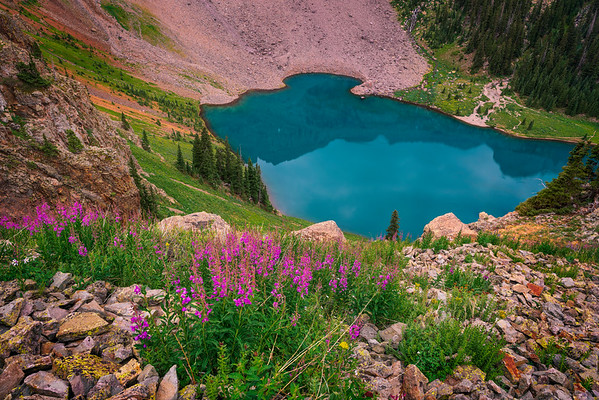 Lower Blue Lake & Fireweed