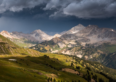 View from the top of Hasley Basin towards Snowmass Mountain and Hagerman Peak.