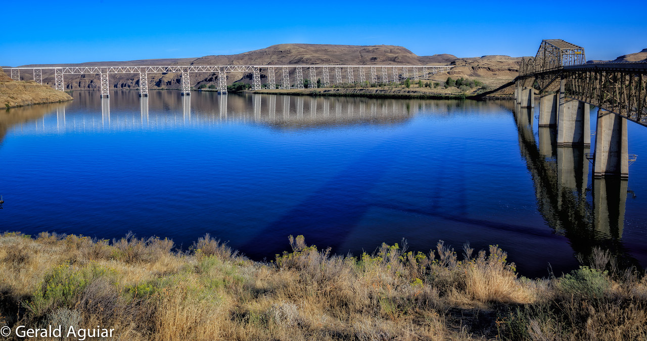 This bridge and railroad trestle is also on the Snake River.  The trestle is one mile long.  We were fortunate the water was calm enough to allow some nice bridge and trestle reflections.