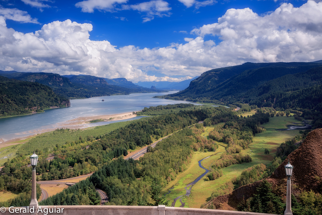 View of the Columbia Gorge from Crown Point Vista House.  We were lucky to have some great clouds that day!