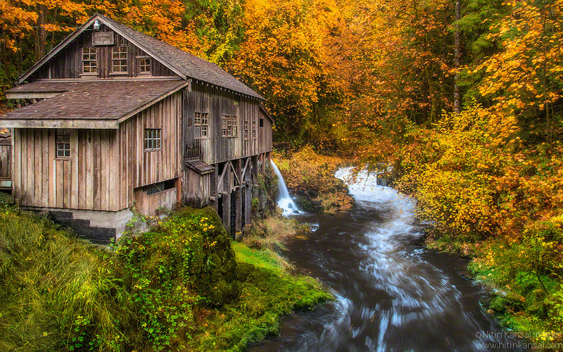 """Autumn Glow at cedar creek Grist Mill<br /> <br /> Please checkout my FB page and like us here:  <a href=""""http://www.facebook.com/MagicLightPhotography"""">http://www.facebook.com/MagicLightPhotography</a><br /> <br /> This weekend i went to place i wanted to shoot for ~1 year. I've heard about it from couple of my friends and recommendations was to visit in Autumn... Last weekend was perfect opportunity for me to visit as i was driving down to Columbia river gorge for some fall color shooting. The leaves were past prime by a week. There were more leaves on ground than on the trees.<br /> <br /> The conditions were definitely not perfect and i decided to pack my bag and he<br /> ad back.. It rained suddenly and i decided to wait under covered bridge near this mill. Rain not only helped in saturating some colors but bring some fog.<br /> <br /> I decided to shoot again and grabbed couple of shots... Here is one of my favorite from the trip."""