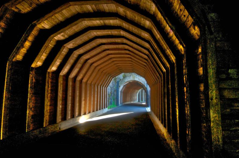 Inside the Mosier tunnels.
