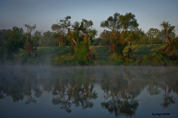 Fishing Hole, located in New Madrid, Missouri.  Cool morning and warm waters created the fog.