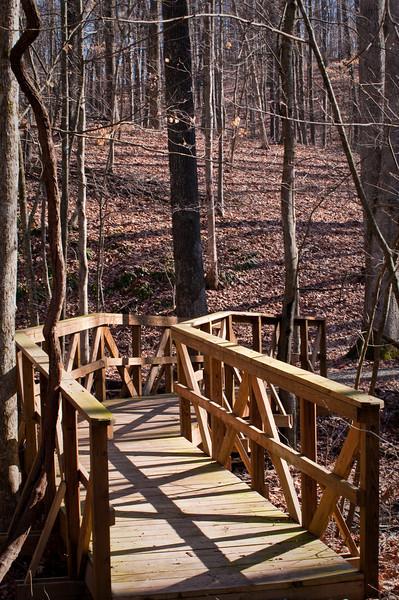 Conservation Interpretive Center, Cape Girardeau, MO:  Hiking Trail Bridge . Pentax K-7, Pentax 50-135mm f/2.8 lens, Shot at AP-f/10, SS-1/40, FL-50mm, and ISO-100.