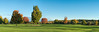 Panorama #3 (of 4):  Golf course in early autumn in early morning