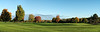 Panorama #4 (of 4):  Golf course in early autumn in early morning