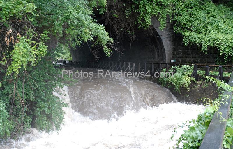 Corbett's Glen Tunnel Falls at flood stage, 7/12/2006