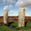 The Pipers - 2 Stones southwest of the Hurlers, 1.5 m high and 2m apart<br /> Legend refers to them as two more male victims of divine petrification,  having played their instruments on a Sunday -  an unforgivable sin. . .<br /> Others think they may have astrological significance.  You chose!