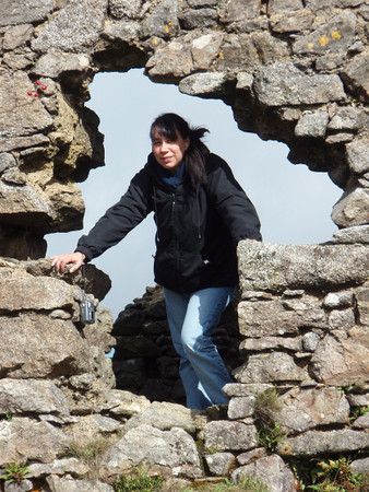 Andrea exploring ruins on Bodmin Moor